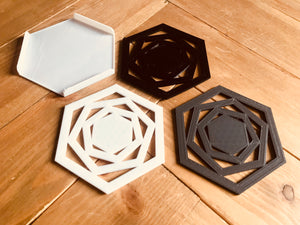 Gift Set of 3 , 3d printed  Hexagon Geometric Coasters Mixed Colours Modern