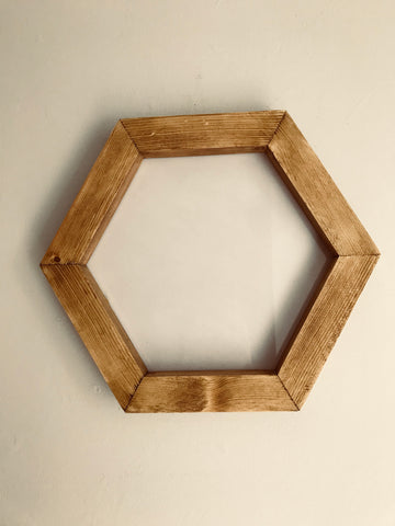 Solid Wood Hand Made Hexagon Picture Display Frame Photo Display Frame for Home