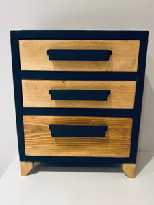 Modern Vintage Wooden Storage Small Draw Chest Unit Triple Drawers Hand Made