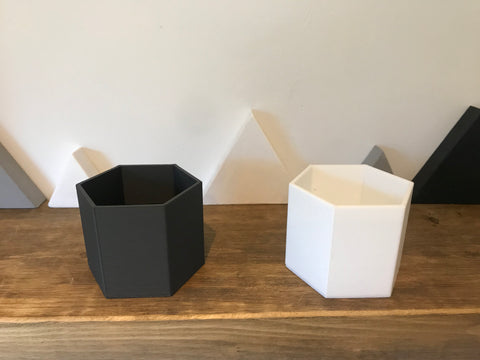 Hexagon desk tidy pen pot planter modular