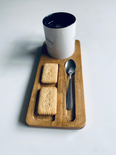Tea tray caddy biscuit and spoon solid wood hand made dark oak wax