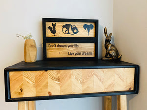 Geometric animal wall art engraved wood and epoxy