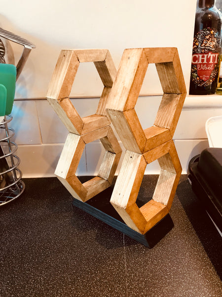Wine Rack 2 Bottles Hand Made Solid Wood Modern Geometric Hexagon Gift Storage
