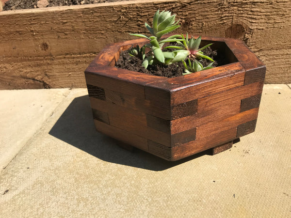 Geometric garden Planter Honeycomb Hand Made Finished with walnut stain