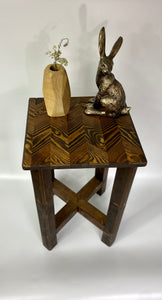 Hand made solid wood end table chevron top side table