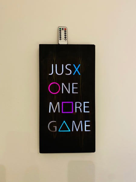 Gamer just one more game  led light up wall art engraved wood and epoxy bespoke sign