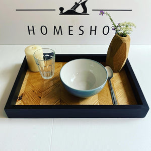 Tray serving tray hand made solid wood industrial
