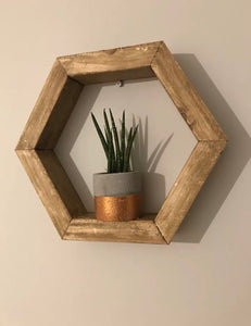 Floating Hexagon Honeycomb Shelf , Hand Made, Hand Finished rustic