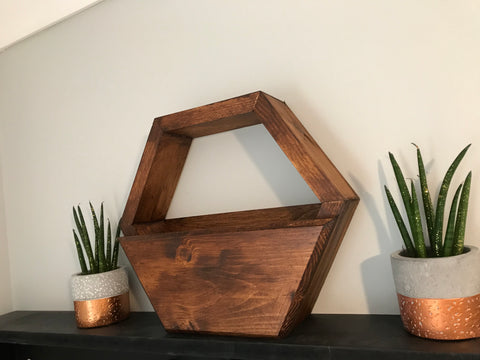 Wooden planter hexagon solid wood hand made finished in walnut stain