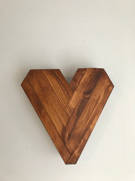 Heart wall decor solid wood hand made