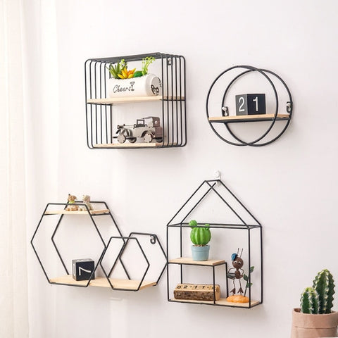 Metal Iron Wooden Storage Rack Multi Shape Storage Holders Black/Gold Nordic Wall Shelf DIY Home Decor