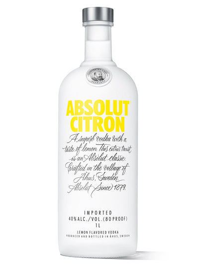 Absolut Citron Lemon Flavoured Swedish Vodka 1L