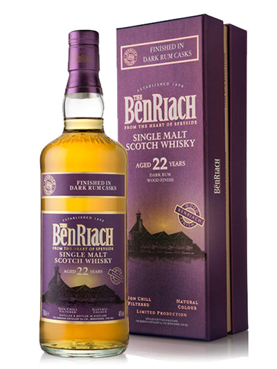 BenRiach 22 Year Old Dark Rum Speyside Single Malt Scotch Whisky 700mL
