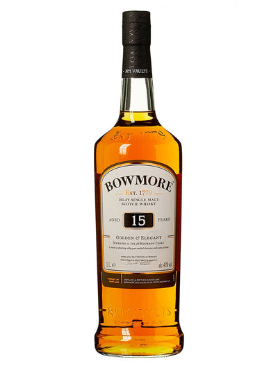 Bowmore 15 Year Old Golden & Elegant Single Malt Scotch Whisky 1L