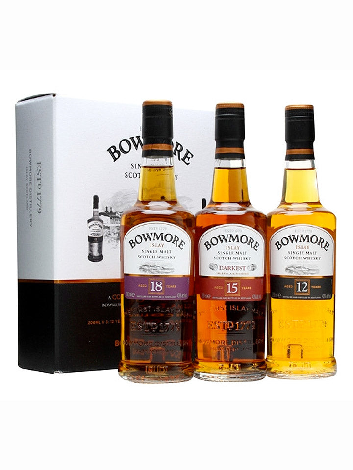 Bowmore Collection 12, 15 & 18 Year Old Single Malt Scotch Whisky 3 x 200mL