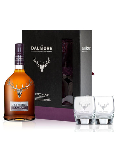 The Dalmore Port Wood Reserve + 2 Glasses Pack Single Malt Scotch Whisky 700mL