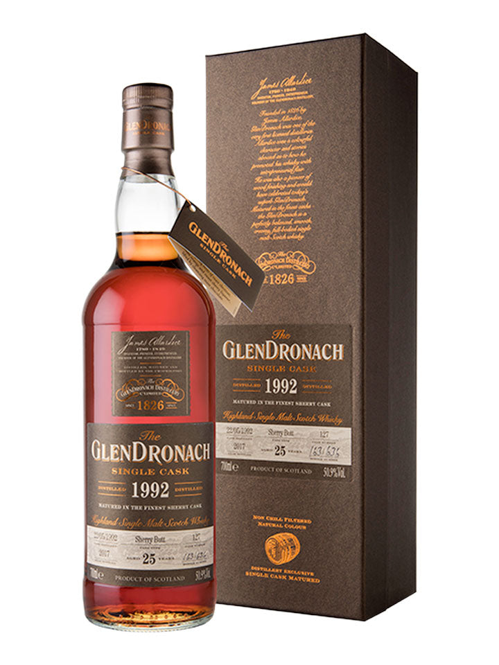 Glendronach 25 Year Old 1992 Single Cask #127 Ex-Sherry Butt Scotch Whisky 700mL