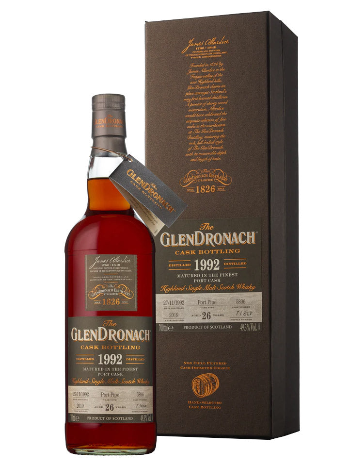 Glendronach 26 Year Old 1992 Cask#5896 Port Pipe Single Malt Scotch Whisky 700mL