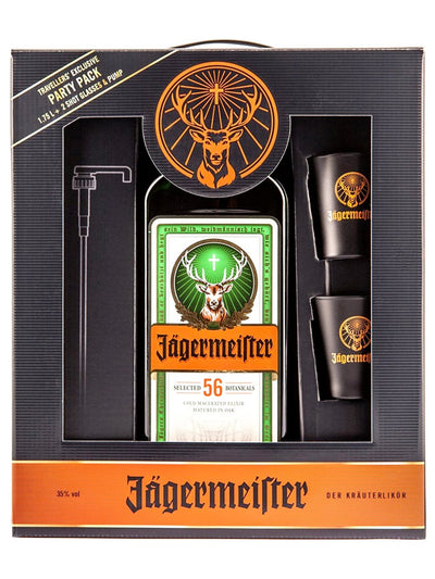 Jagermeister Herb Liqueur Party Pack With Hand Pump + 2 Glasses 1.75L