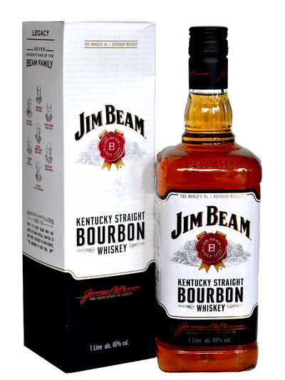 Jim Beam White Label With Gift Box Kentucky Bourbon Whiskey 1L