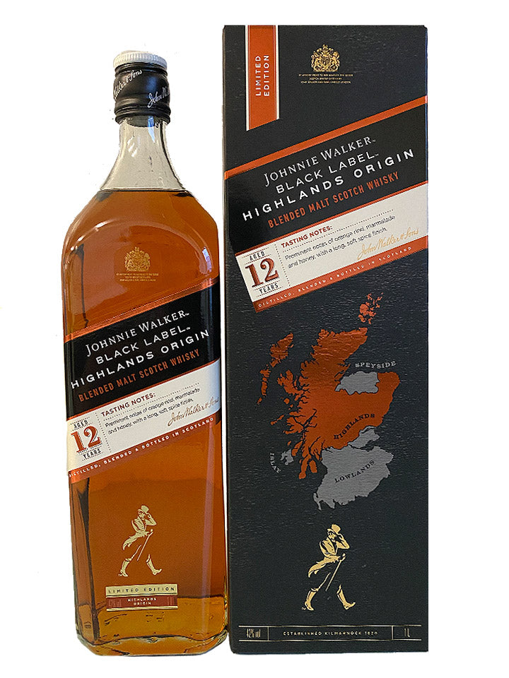 Johnnie Walker Black Label Highlands Origin 12 Year Old Blended Scotch Whisky 1L