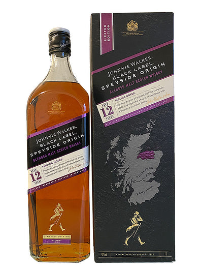 Johnnie Walker Black Label Speyside Origin 12 Year Old Blended Scotch Whisky 1L