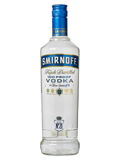 Smirnoff Blue Label 100 Proof Export Strength Russian Vodka 1L
