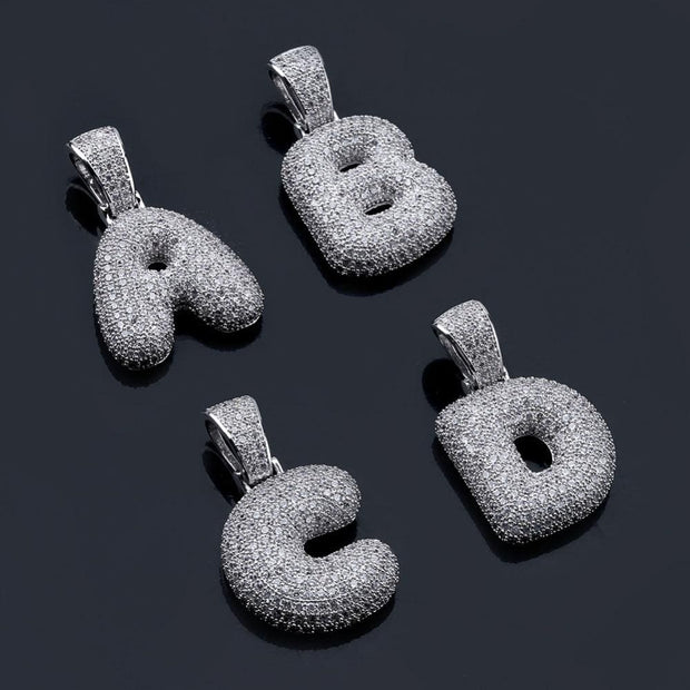 A-Z Bubble Letters Iced Out Pendant