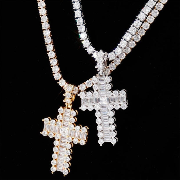 Mini Baguette Paved Cross Pendant - ICEY Jewelry - Iced Out High Quality Afforable Jewelry