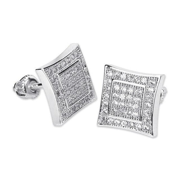 CZ Square Shape Stud Earrings