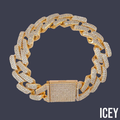 Micro paved Cubic Zircon Big Box Clasp 20mm Cuban Bracelet - ICEY Jewelry - Iced Out High Quality Afforable Jewelry