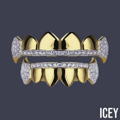 Two Tone Iced Out Vampire Fangs - ICEY Jewelry - Iced Out High Quality Afforable Jewelry