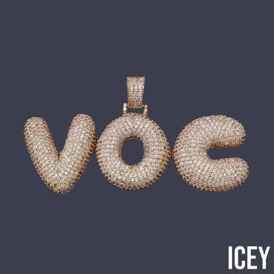 Custom Name Bubble Letters Chain Pendant - ICEY Jewelry - Iced Out High Quality Afforable Jewelry