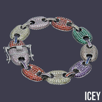 12MM Iced Out Gucci Link Bracelet - ICEY Jewelry - Iced Out High Quality Afforable Jewelry