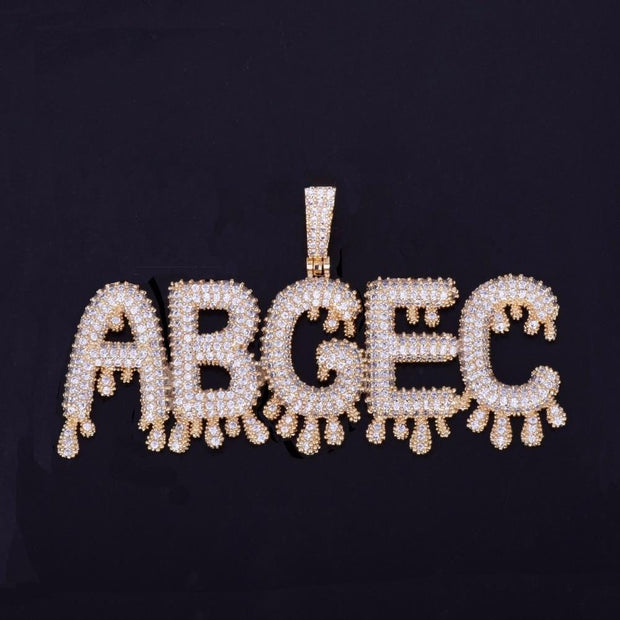 Small Drip Bubble Letters Necklaces & Pendant - ICEY Jewelry - Iced Out High Quality Afforable Jewelry