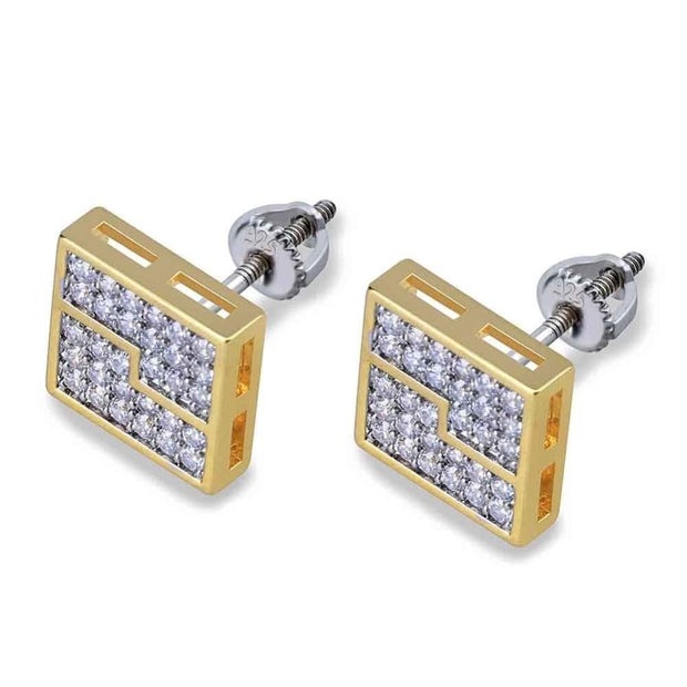 925 Silver Square Segmentation Stud Earrings - ICEY Jewelry - Iced Out High Quality Afforable Jewelry