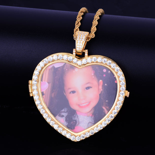 Custom Photo Heart Medallion Pendant - ICEY Jewelry - Iced Out High Quality Afforable Jewelry
