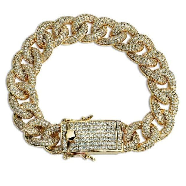 10mm Full Iced Curb Cuban Link Bracelet - ICEY Jewelry - Iced Out High Quality Afforable Jewelry
