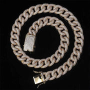 15MM Full Iced Curb Cuban Link Chain - ICEY Jewelry - Iced Out High Quality Afforable Jewelry