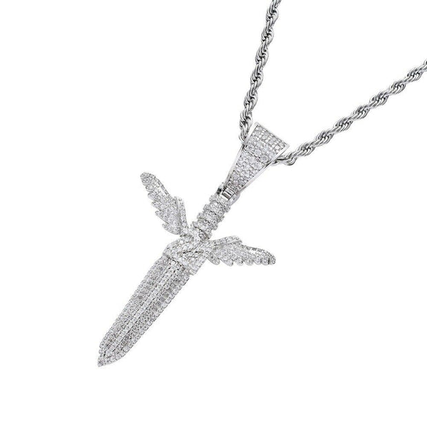 Iced Out Angel Wing 21 Savage Sword Pendant - ICEY Jewelry - Iced Out High Quality Afforable Jewelry