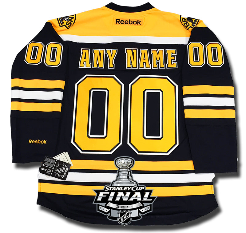 50bd2c044 ANY NAME AND NUMBER BOSTON BRUINS 2011 STANLEY CUP FINALS PREMIER REEBOK  NHL JERSEY