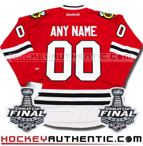 Any Name and Number Chicago Blackhawks 2015 Stanley Cup home Reebok jersey