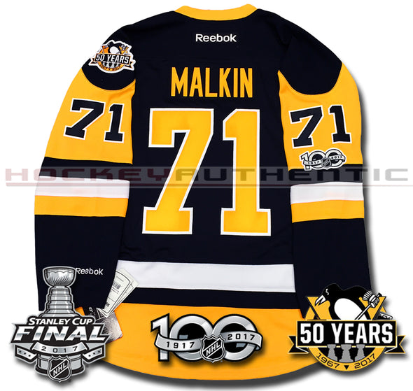 EVGENI MALKIN PITTSBURGH PENGUINS 2017 STANLEY CUP FINALS PREMIER REEBOK NHL JERSEY - Hockey Authentic