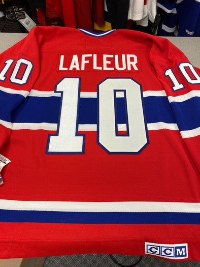 MAKE AN OFFER - GUY LAFLEUR MONTREAL CANADIENS CCM VINTAGE JERSEY SIZE L - Hockey Authentic