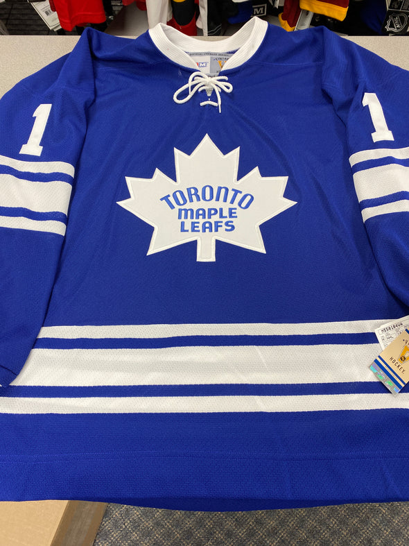 MAKE AN OFFER - JOHNNY BOWER SIGNED TORONTO MAPLE LEAFS CCM VINTAGE JERSEY SIZE L - Hockey Authentic
