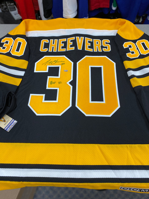 MAKE AN OFFER - GERRY CHEEVERS SIGNED BOSTON BRUINS CCM VINTAGE JERSEY SIZE XL - Hockey Authentic