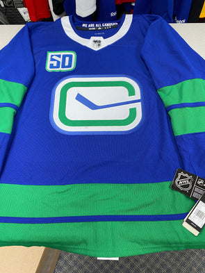 MAKE AN OFFER - VANCOUVER CANUCKS HERITAGE PRO ADIDAS JERSEY WITH 50TH ANNIVERSARY PATCH SIZE 56/XXL - Hockey Authentic