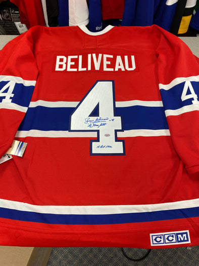 MAKE AN OFFER - JEAN BELIVEAU SIGNED MONTREAL CANADIENS CCM VINTAGE JERSEY WITH MEMORIAL PATCH SIZE XL - Hockey Authentic