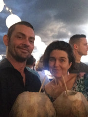 Jesse & Casey at the Taste Port Douglas with fresh coconut cocktails