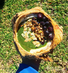 Green Smoothie in a Coconut Bowl